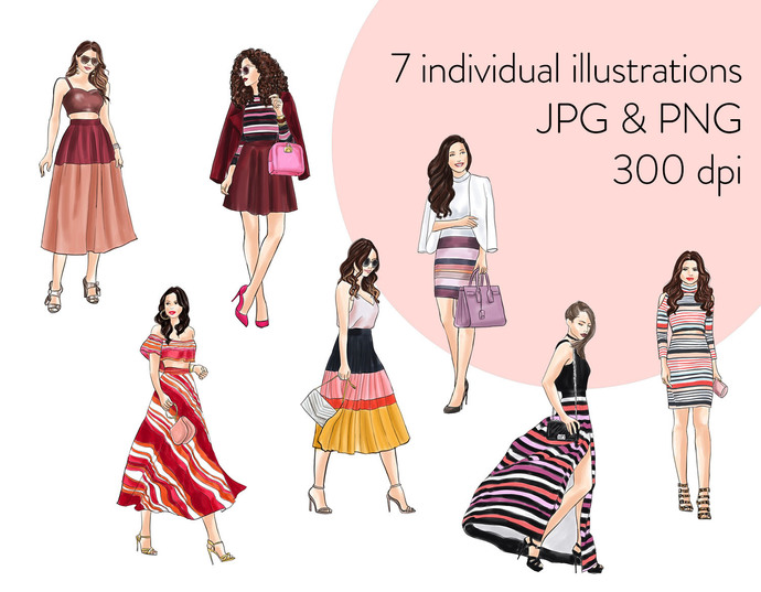 Watercolour fashion illustration clipart -  Girls in Stripes - Light Skin
