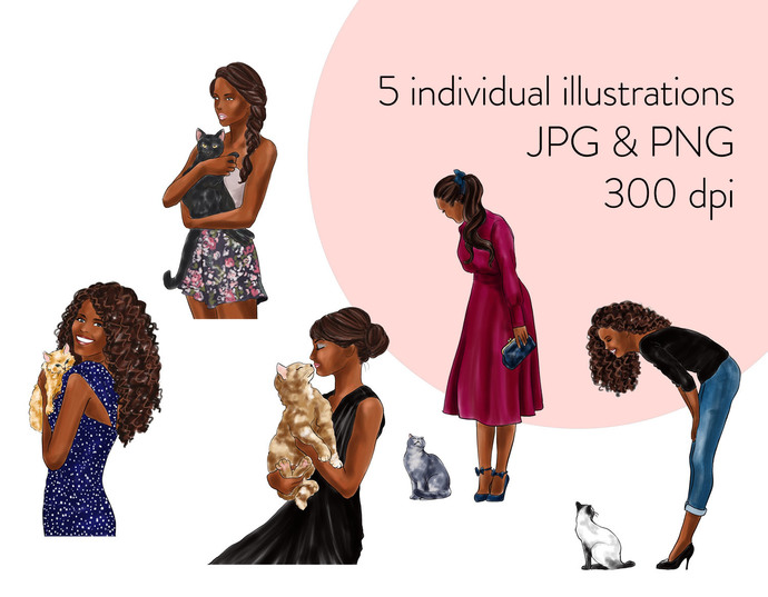 Watercolour fashion illustration clipart -  Girls with Cats - Dark Skin