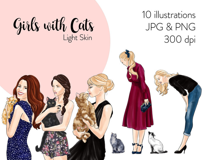 Watercolour fashion illustration clipart -  Girls with Cats - Light Skin