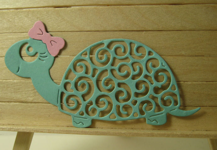 Girl Turtle with Bow Metal Cutting Die