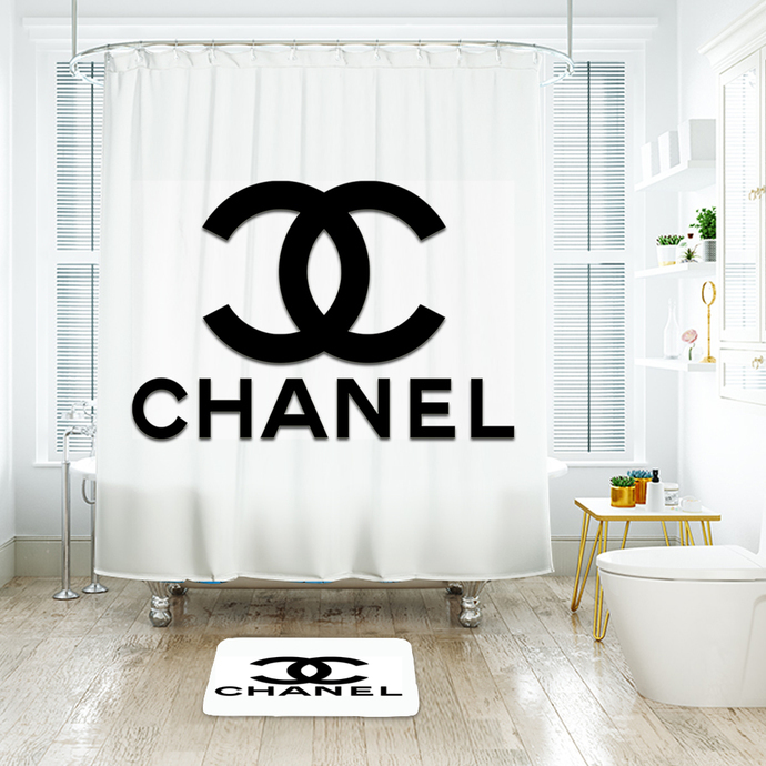 Chanel Shower Curtain Bathroom Decoration With 12 Hooks 72w X 72