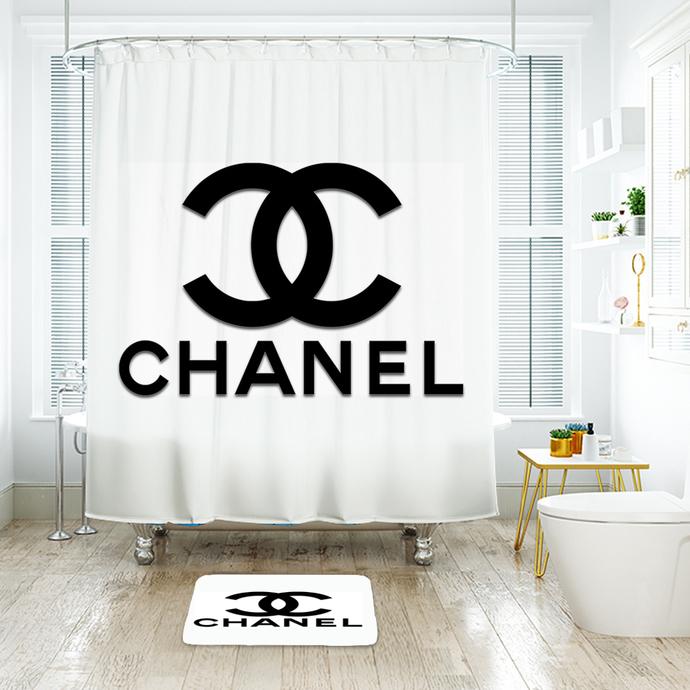 Chanel Shower Curtain Bathroom Decoration With 12 Hooks 72w X 72