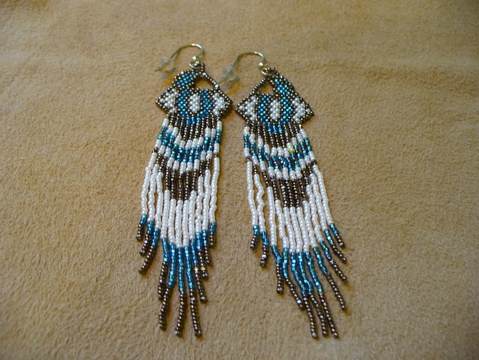 Native American Style Brick Stitched Geometric Design earrings in Teal,Bronze