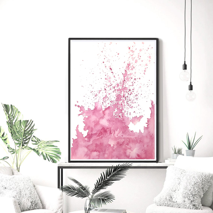 Blush Pink Wall Art Print, Digital Download, Abstract Watercolor Painting, Large