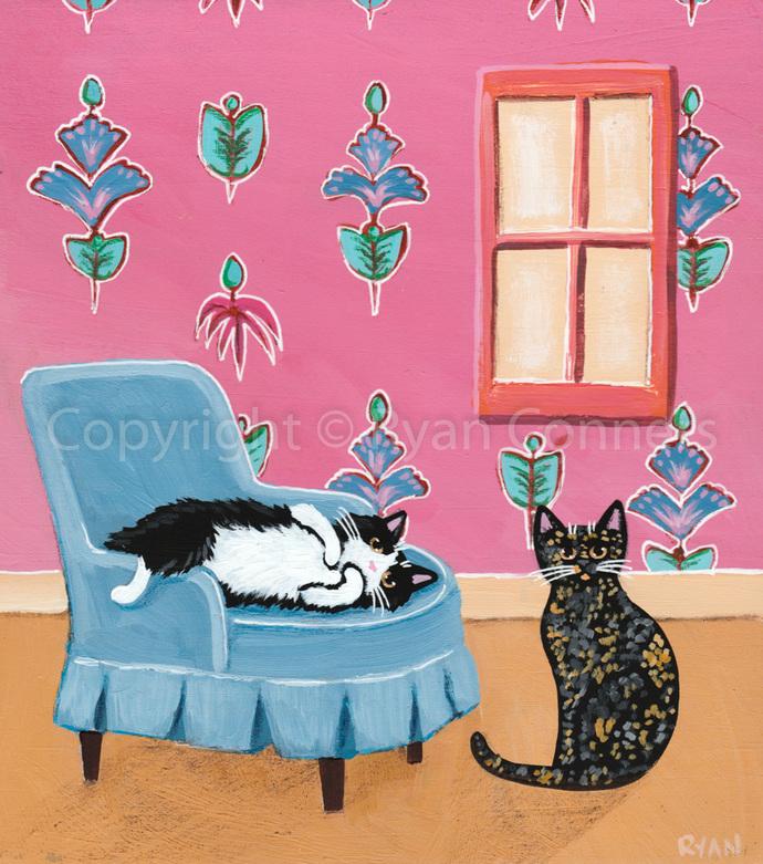 Tortie and Tuxedo Cat Original Folk Art Acrylic Painting