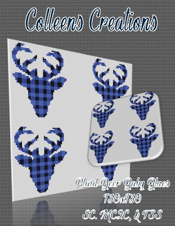 Plaid Deer Blue Baby Crochet Written & Graph Design