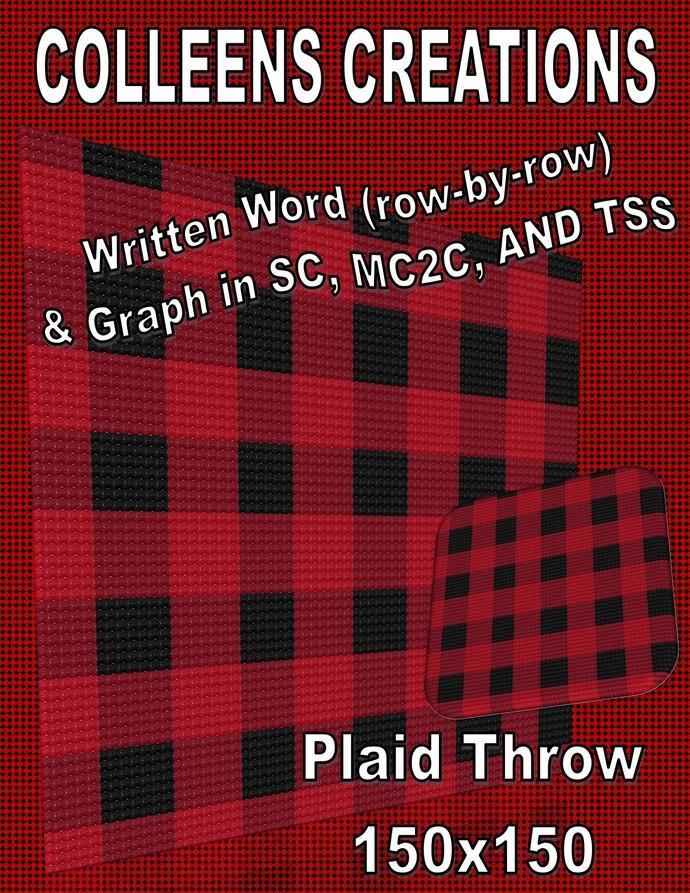 Plaid Throw Crochet Written & Graph Design