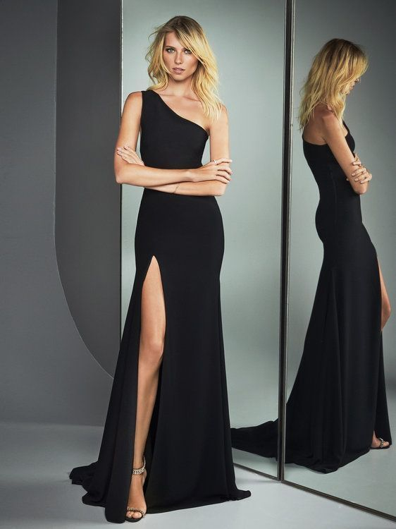 7e587f86ad8 Simply black Long Side Prom Dress with slit by RosyProm on Zibbet