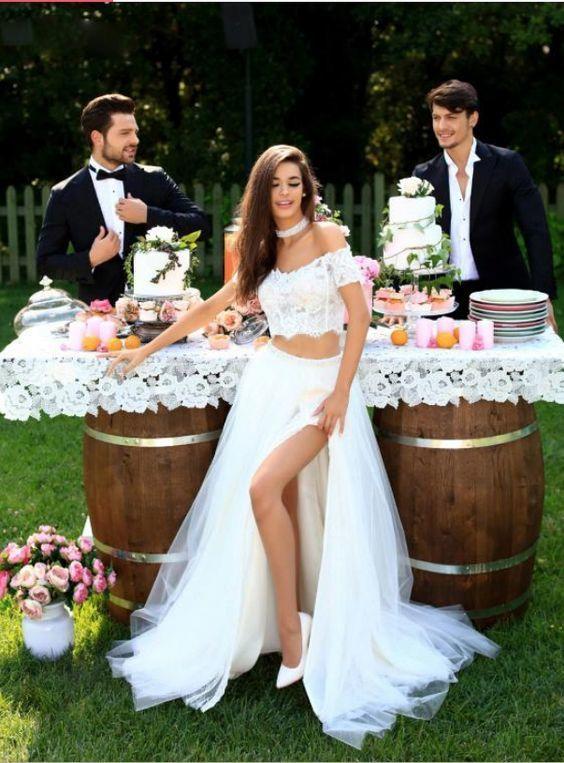 White Lace Two Piece Split Slit Tulle Wedding Dress, Sexy Wedding Gown, Bridal