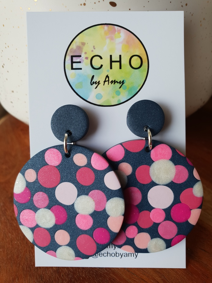 Pink on Navy Spots - large