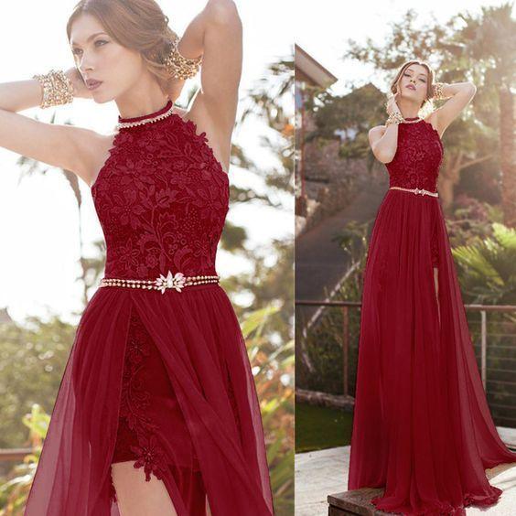 Sexy A-line High Neck Prom Dress,Lace Bodice Beach Wedding Dress ,Ivory Chiffon