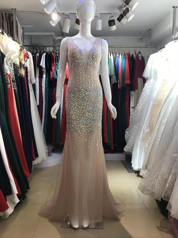 V-neck Rhinestone Beaded Long Mermaid See Through Prom Dresses