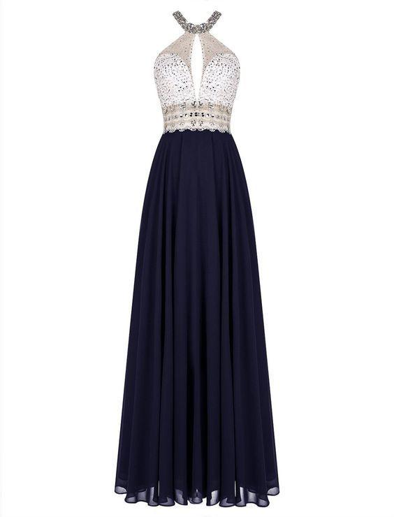 Gorgeous Long Halter Open Back Floor Length A-Line Chiffon Beading Prom Dresses