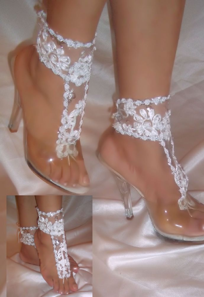 17c4aff567c White Flower Barefoot Sandals By Designs by Designs By Loure on Zibbet