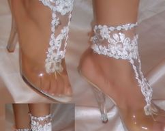 859390a6c6b45 White Flower Barefoot Sandals By Designs By Loure
