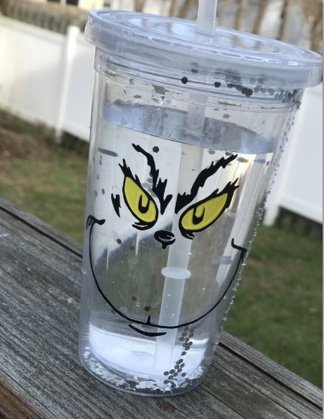 """3"""" Grinch Face with Yellow Eyes Vinyl Decal / Sticker D.I.Y Project / Christmas"""