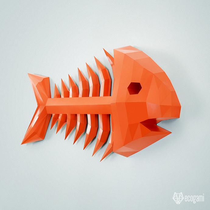 Make your own papercraft fish skeleton   DIY wall mount   3D papercraft