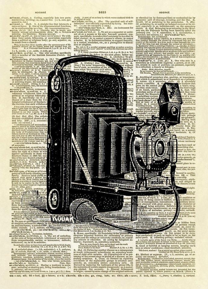 Antique Kodak Camera Dictionary Art Print