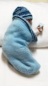 Knitting Pattern,  Cocoon with SAILBOAT DESIGN  and Beanie  - Free Pod Pattern