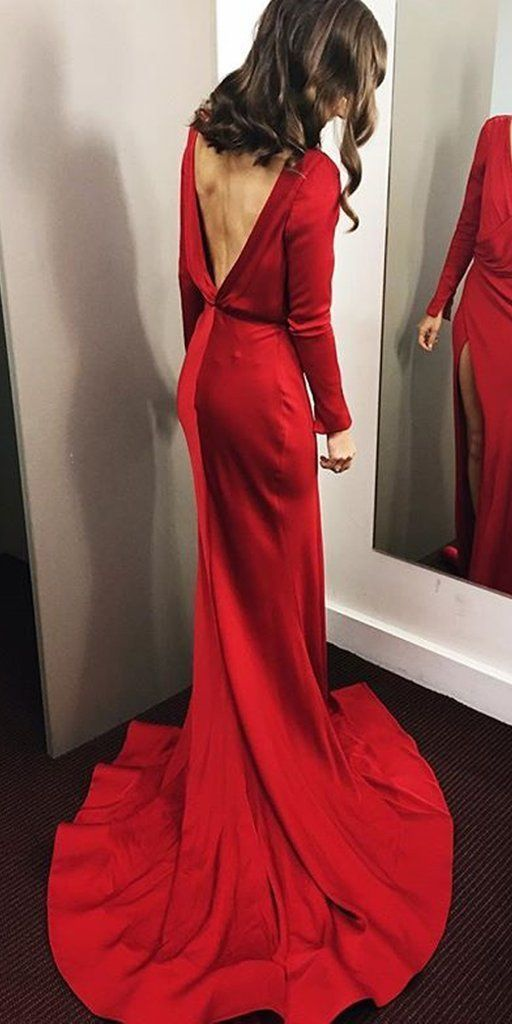 A-Line Long Sleeve Backless V-Neck Sexy Slit Prom Dresses