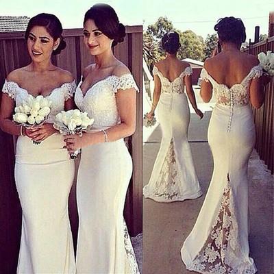 Elegant Mermaid Off-shoulder Long White Lace Bridesmaid Dress