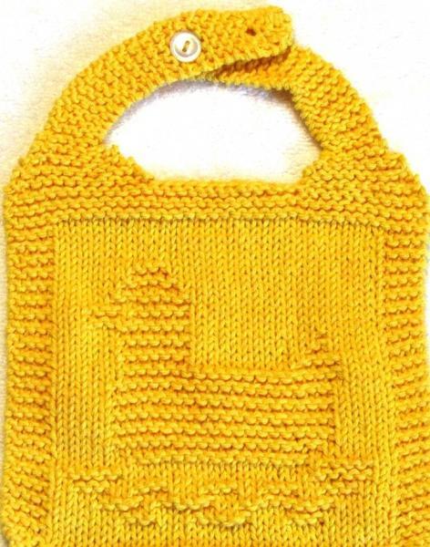 Bib Knitting Pattern - RUBBER DUCK - PDF