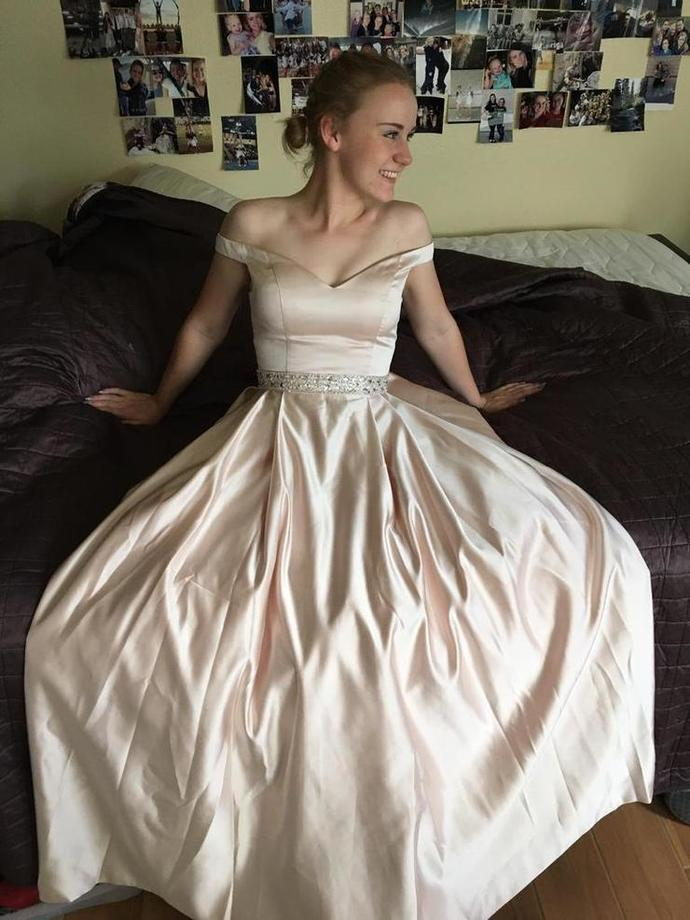 8ff6c40ae2b Off Shoulder Pale Pink A-line Satin Beaded Prom by RosyProm on Zibbet