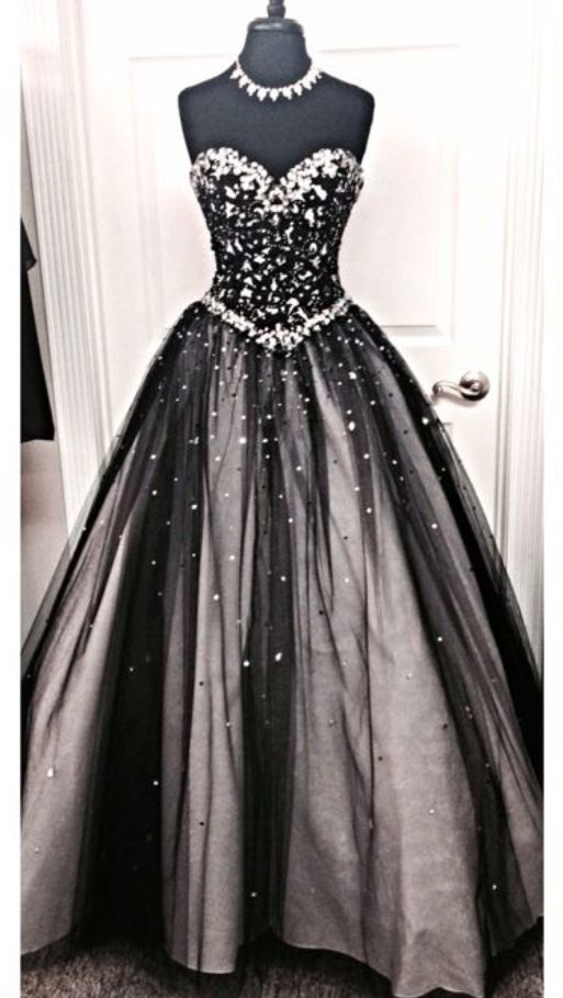 Amazing Black Prom Dress,Sweetheart Prom Dress,Crystal Beaded Prom