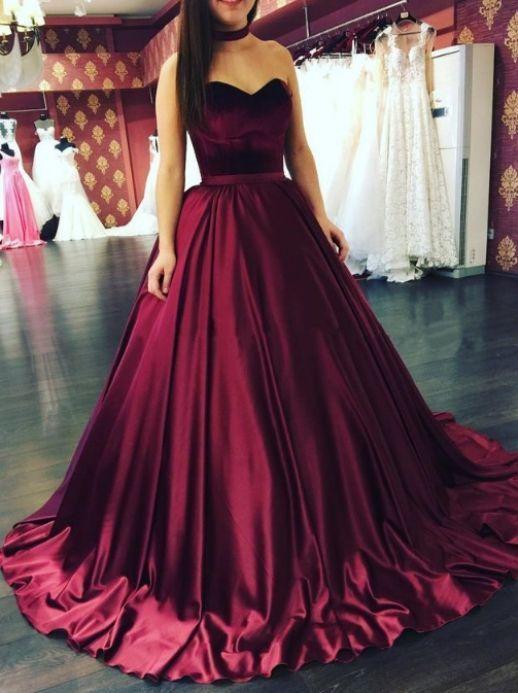 Floor length Evening Dresses, Burgundy Floor-length Prom Dresses, Floor-length