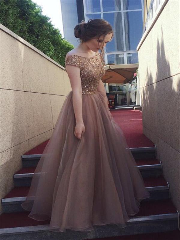 Lovely Beaded Prom Dresses, Tulle Prom Dresses, V-back Prom Dresses, Long Prom