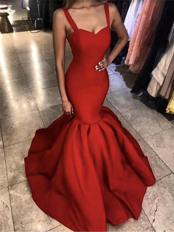 Strap Mermaid Prom Dresses, Satin Prom Dresses, Popular Prom Dresses, Cheap Prom