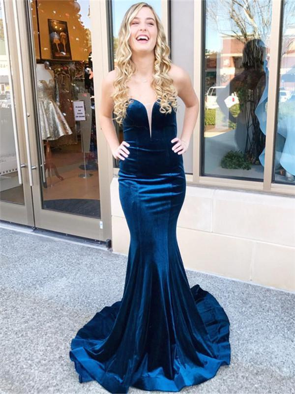 Sweetheart Velvet Prom Dresses, Mermaid Prom Dresses, Cheap Prom Dresses, Prom