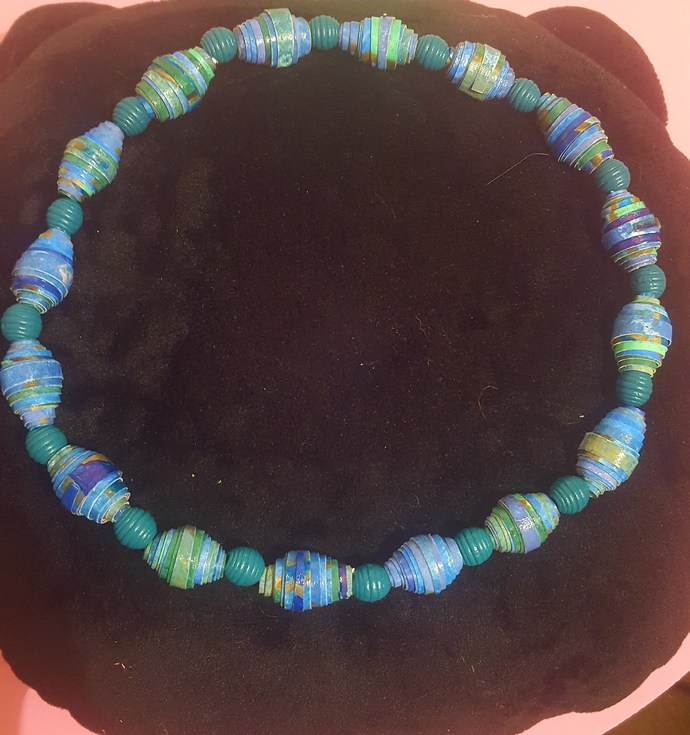 """19"""" beaded necklace on stretch cord"""