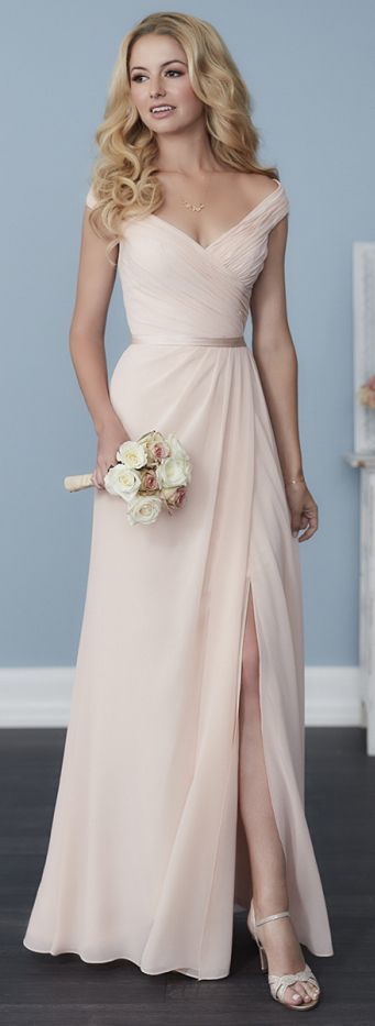 608240154d0 Gorgeous Champagne Chiffon Bridesmaid Dress,Off The Shoulder Bridesmaid  Dress,V-Neck Prom Dress,Floor Length Dress
