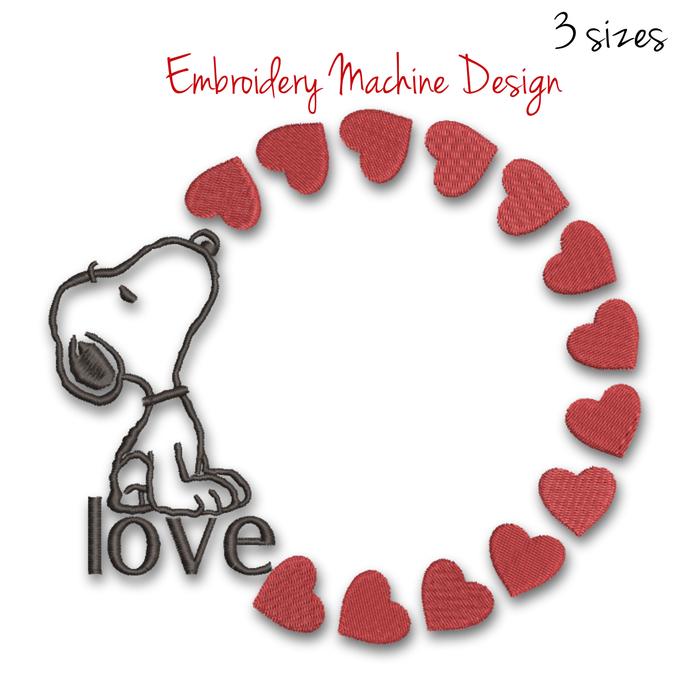 Embroidery machine designs Snoopy Circle frame monogram heart pes digital