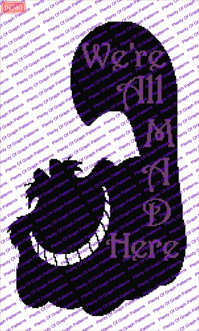 Were all mad here cat graph and written graphghan pattern