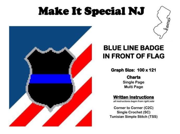 Blue Line Badge on Flag