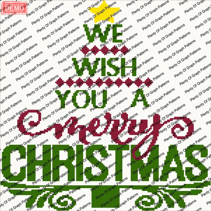 wish you a merry Christmas tree graph and written graphghan pattern