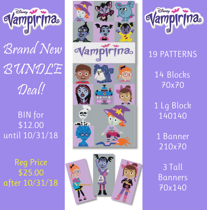 Vampirina Pattern Bundle - 19 PATTERNS!! SC - Graphs w/Written - Full Version