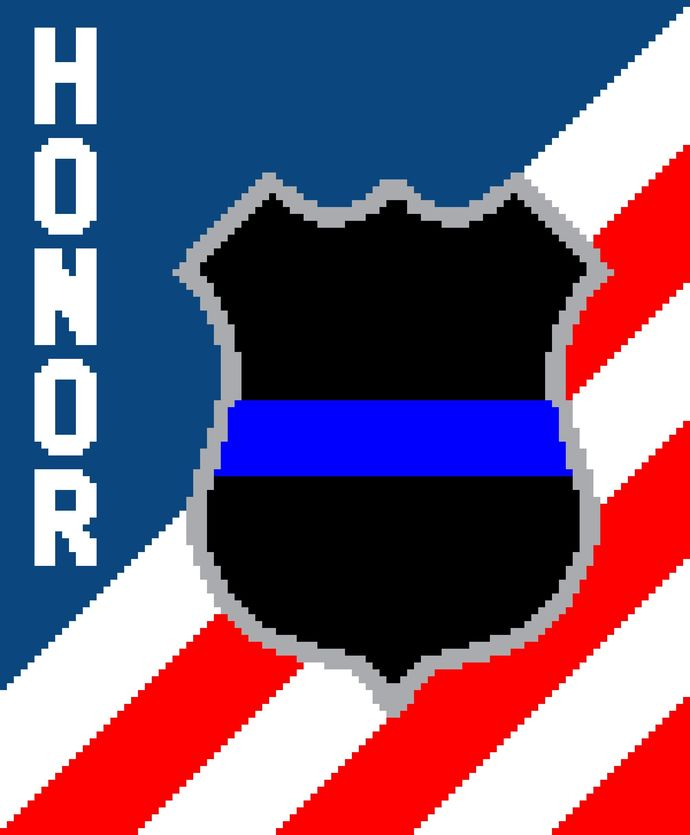 Blue Line Badge on Flag with Honor
