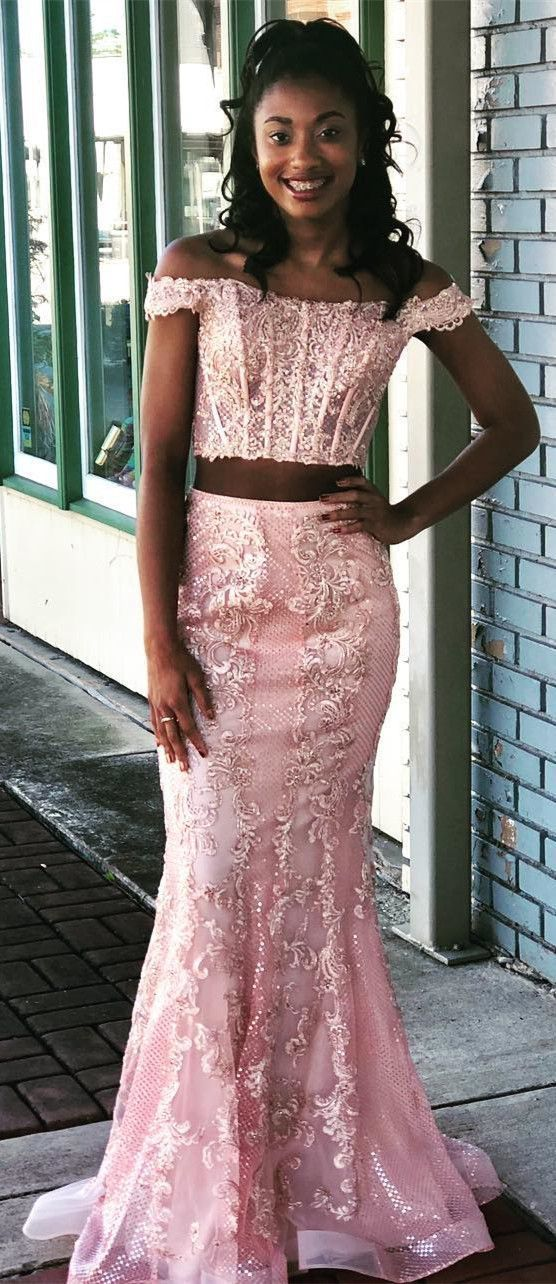 168acd3dc30b3 Gorgeous Off the Shoulder Two Piece Mermaid Long Pink Prom Dress, Fabulous  Party