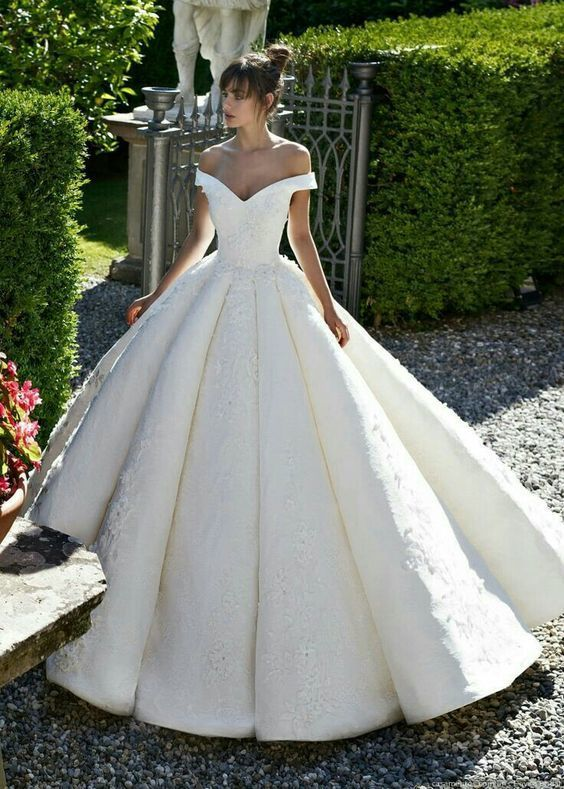 Charming Appliques Off the Shoulder Ball Gown Wedding Dresses, Sexy Formal