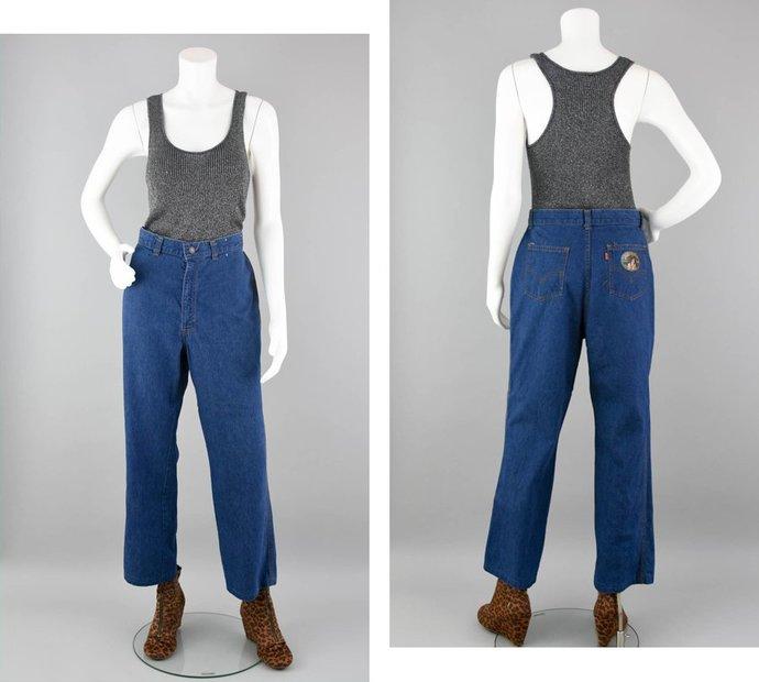 70s Levi's Orange Tab Denim Jeans Vintage, 70s Wide Leg Relaxed Cotton Blue