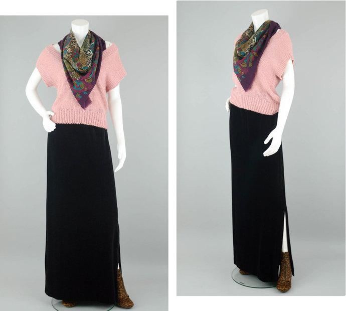 70s Long Velveteen Maxi Skirt Vintage, High Waisted Witchy Skirt Side Slit,