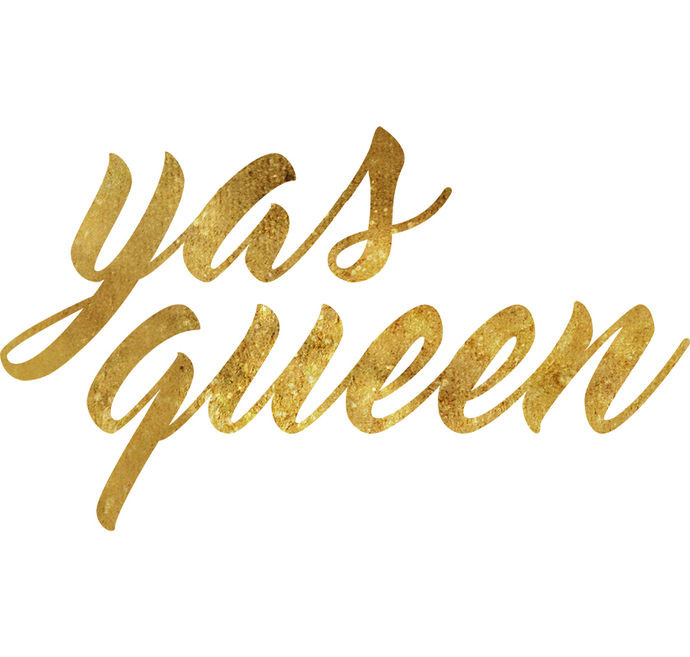 "yas queen - Vinyl Wall Word Decal - 21"" wide x 12"" tall"