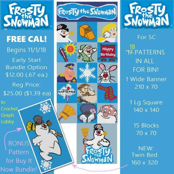 Frosty the Snowman Bundle - SC - includes graphs and written color charts
