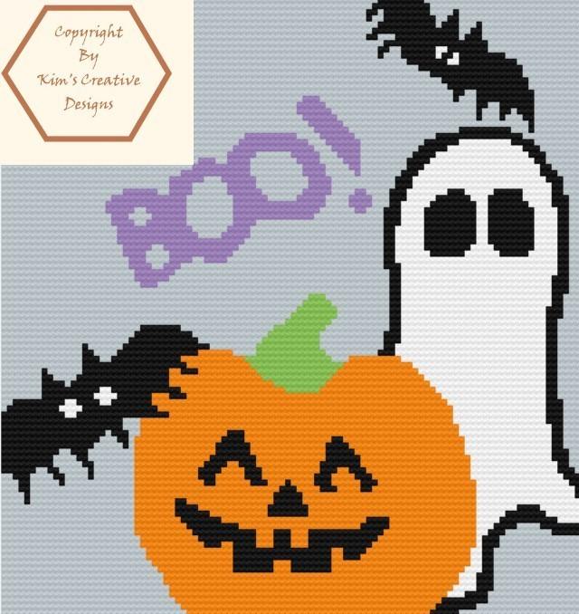 Boo, Ghost, Pumpkin & Bat C2C - 100 x 100