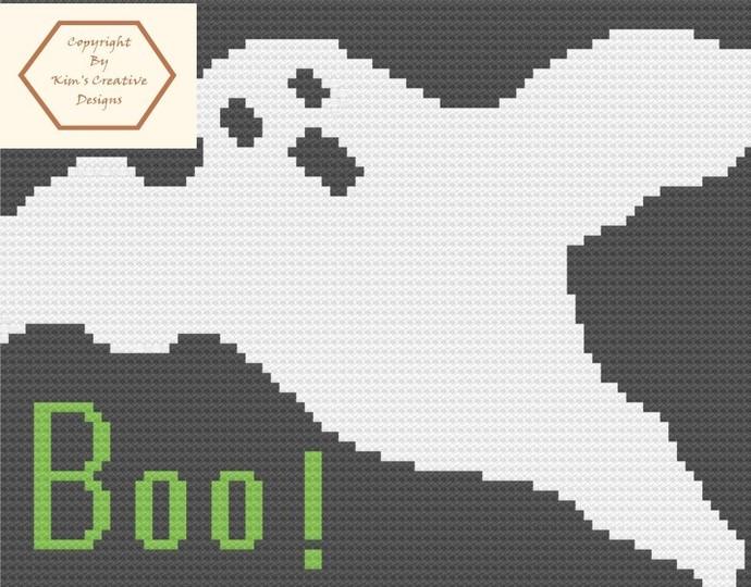Boo Ghost - 60 x 100 - SC and Tunisian