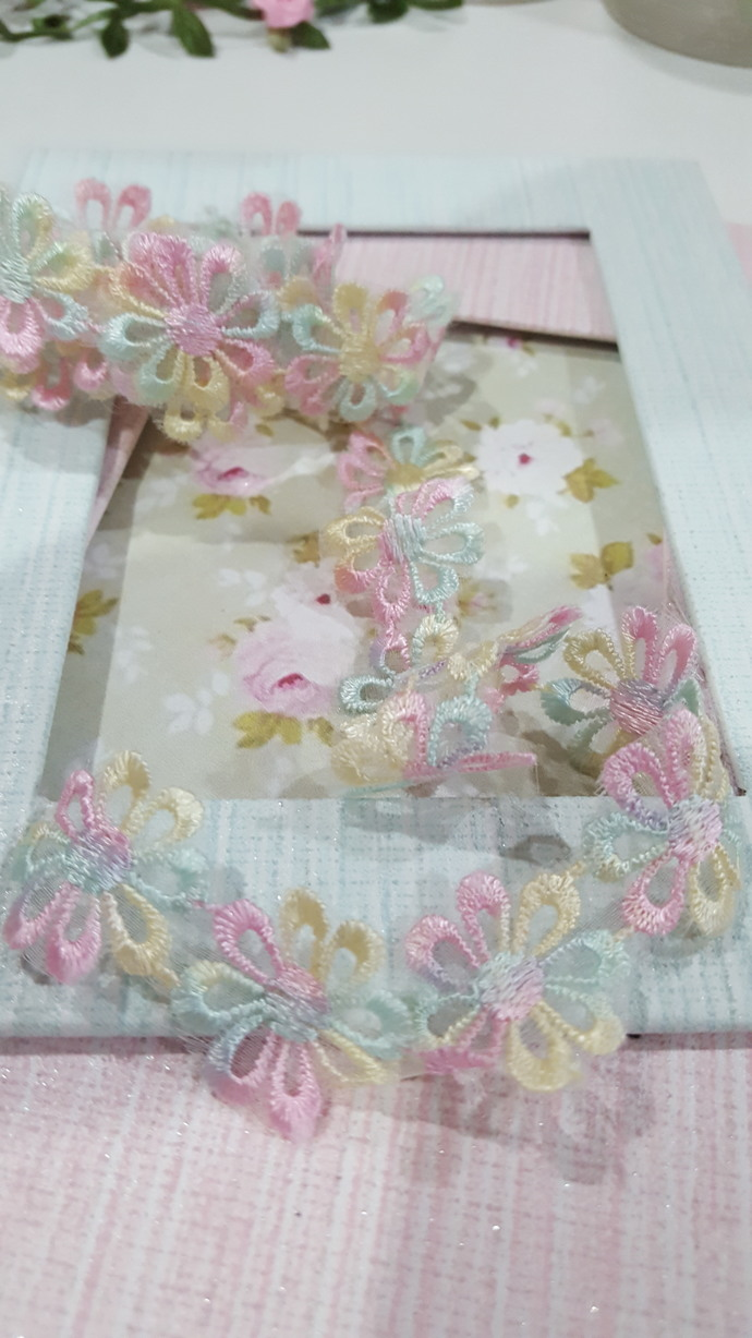 1yard-Embroidered Flowering Lace/NBDL25-Pasel color Flower Lace/