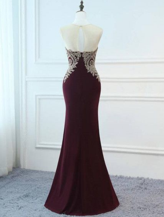 A-LINE TRUMPET/MERMAID LONG PROM DRESSES APPLIQUE PROM DRESS